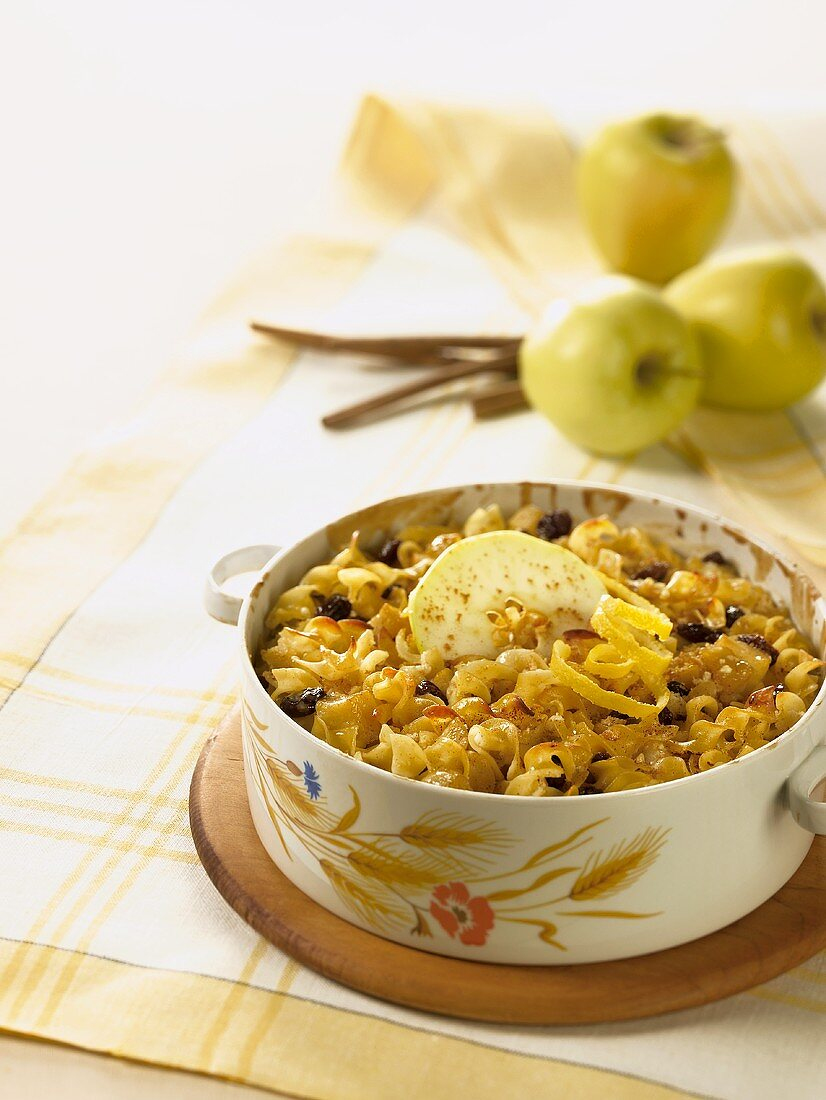 Egg Noodle Casserole with Apple and Raisins