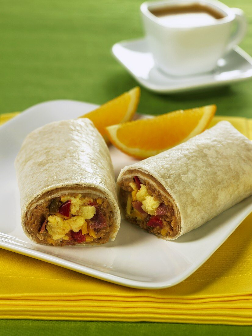 Southern Breakfast Burrito with Scrambled Eggs and Refried Beans