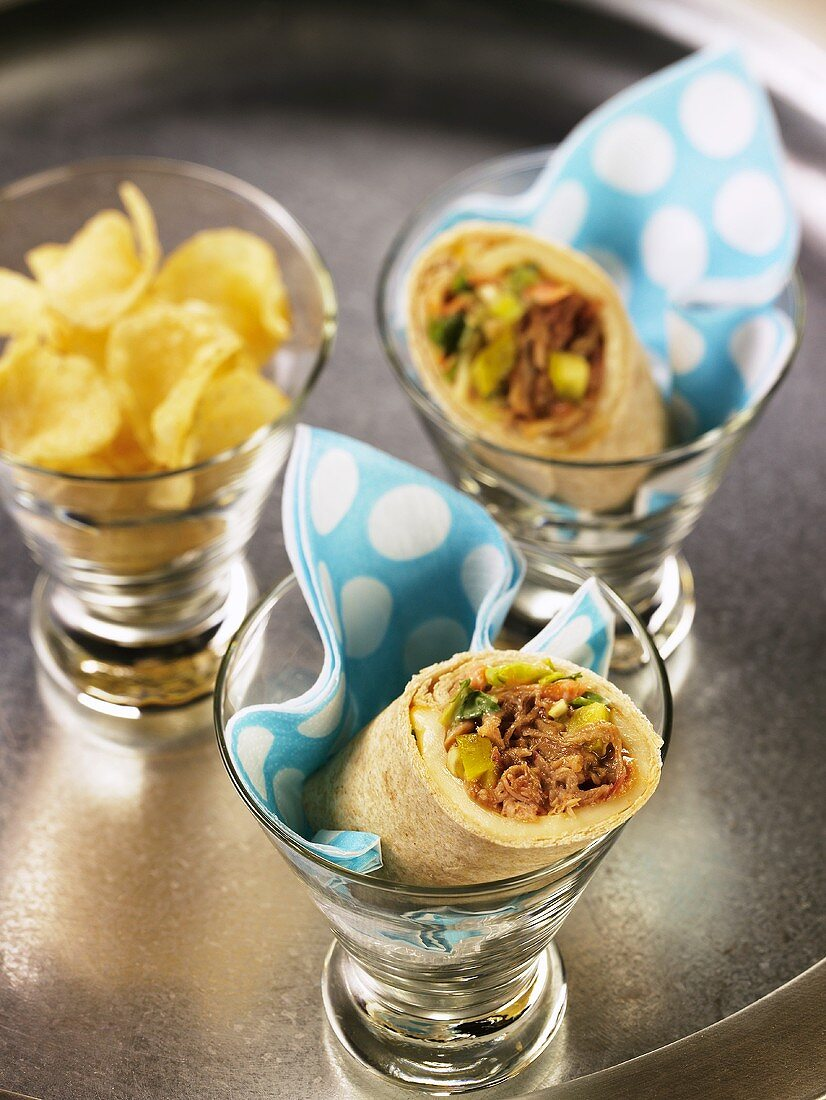 Cuban Pulled Pork Wrap in Glass Dishes; Chips