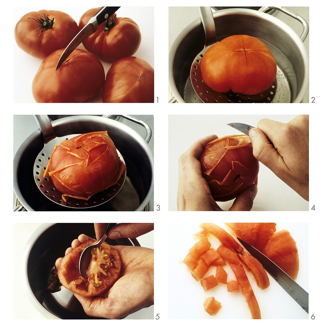 Skinning, deseeding and dicing a tomato