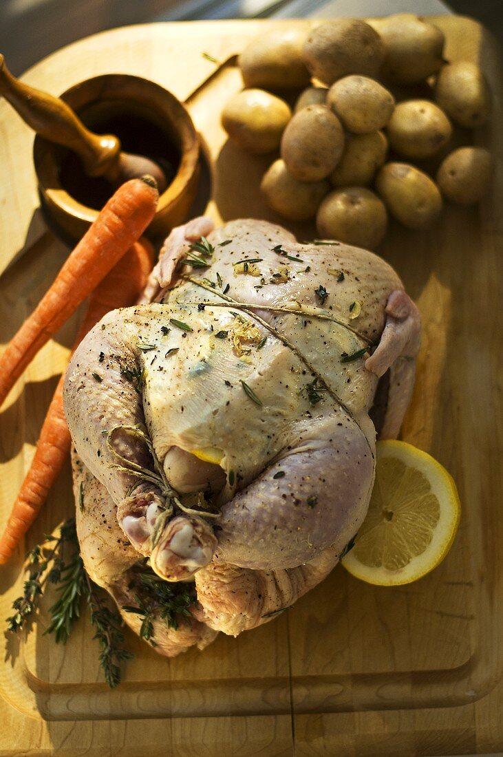 Prepared Chicken For Roasting with Lemon Herb Rub