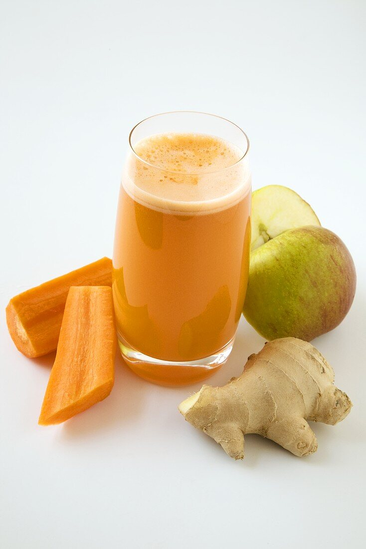Glass of Carrot Juice with Ingredients