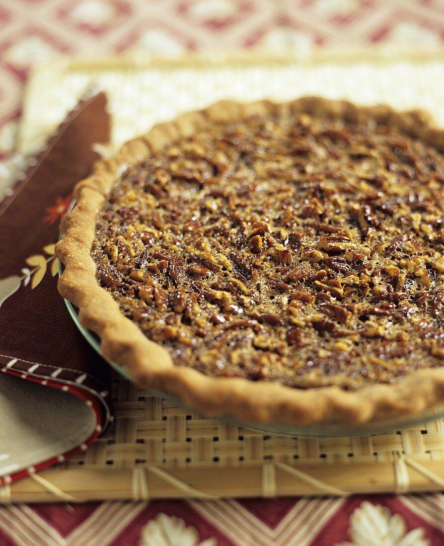Whole Pecan Pie on Mat