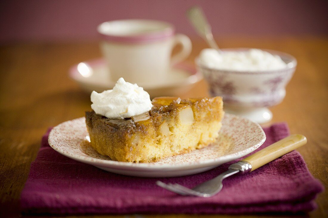 Slice of Pear Cake with Whipped Cream