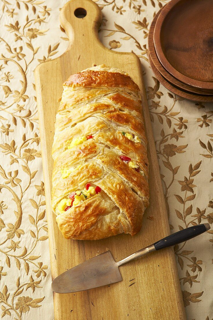 Braided Bread Loaf Stuffed with Scrambled Egg, Cheese and Vegetables