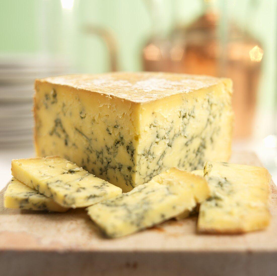 Sliced English Stilton Blue Cheese on Marble