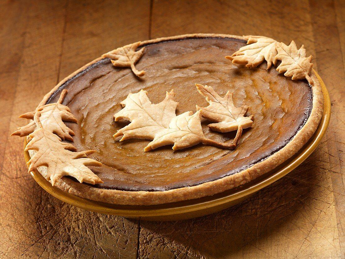 Pumpkin Pie with Pastry Oak Leaves