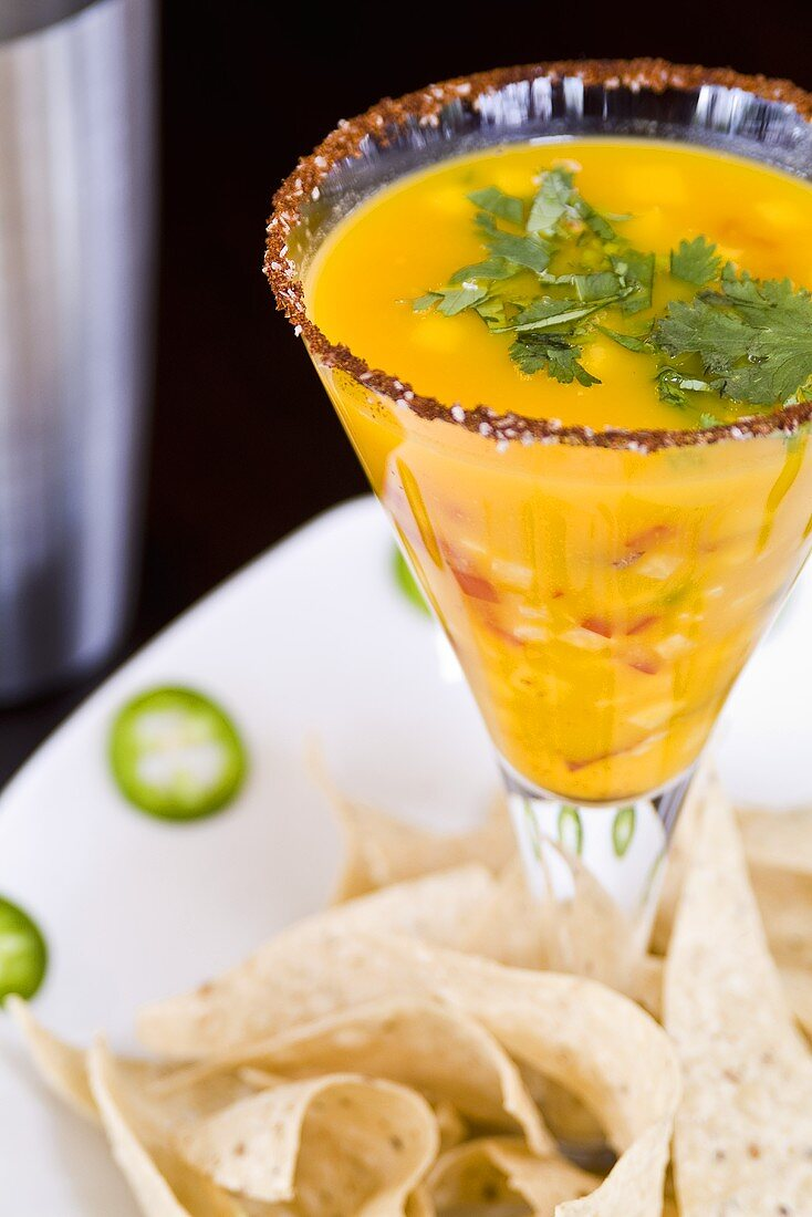 Cold Lobster Soup Served in a Glass; Tortilla Chips