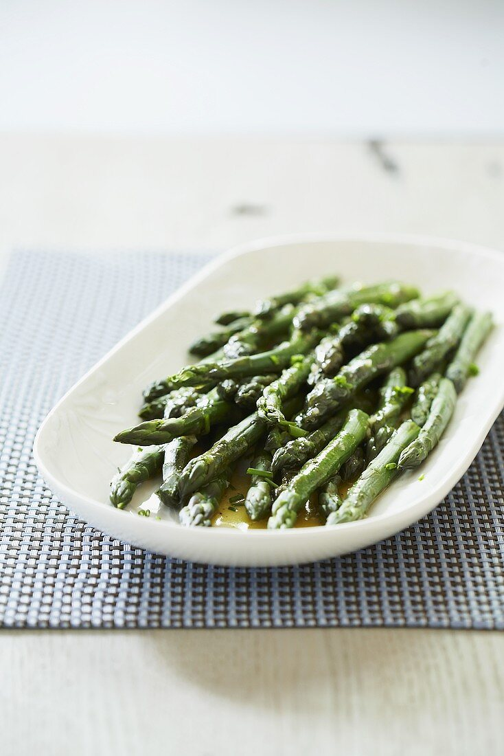 Asparagus in Oil on a Dish