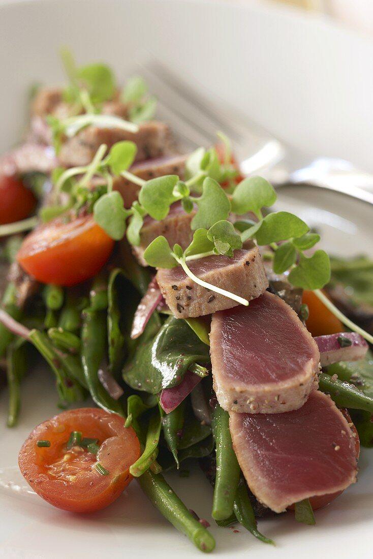Seared Ahi Over Green Bean Salad