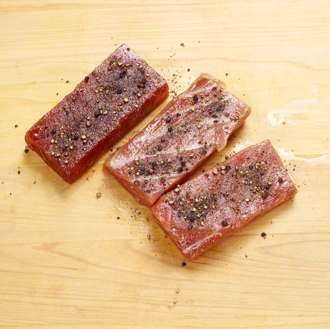 Seasoned Tuna on Butcher Block