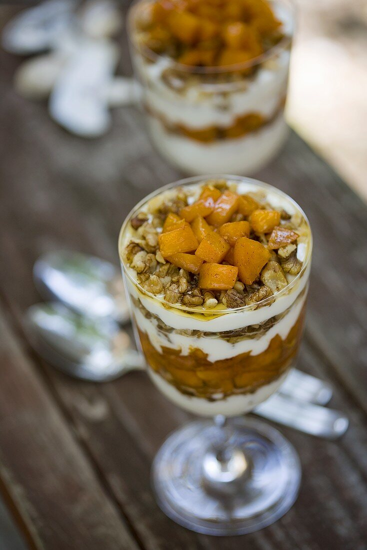 Parfait with Apricots, Walnuts, Honey and Greek Yogurt