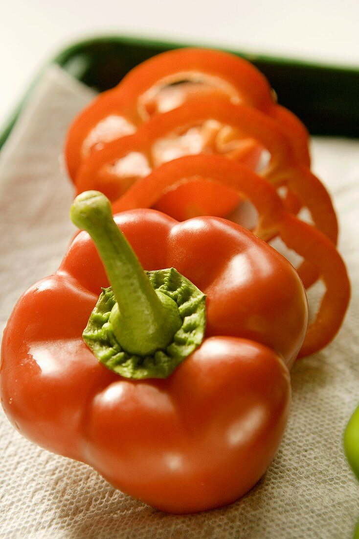 Partially Sliced Red Bell Pepper