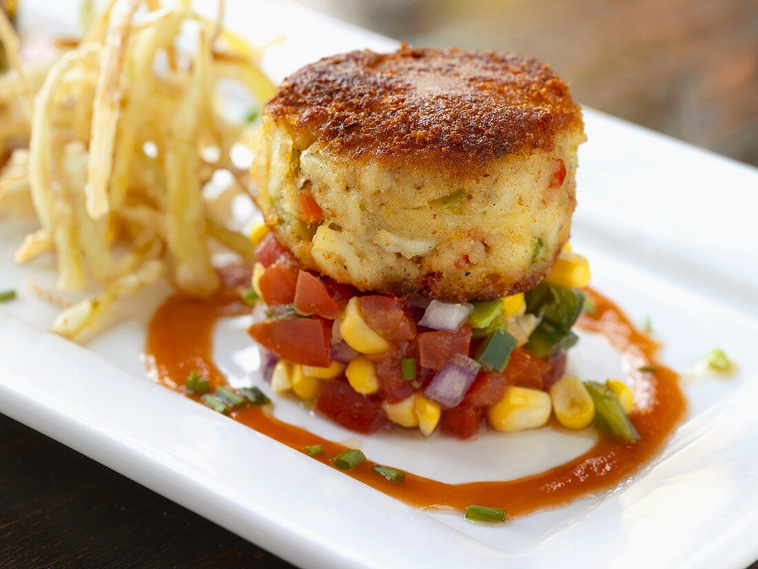Crab Cake on Corn Tomato Salsa with Fried Green Onions