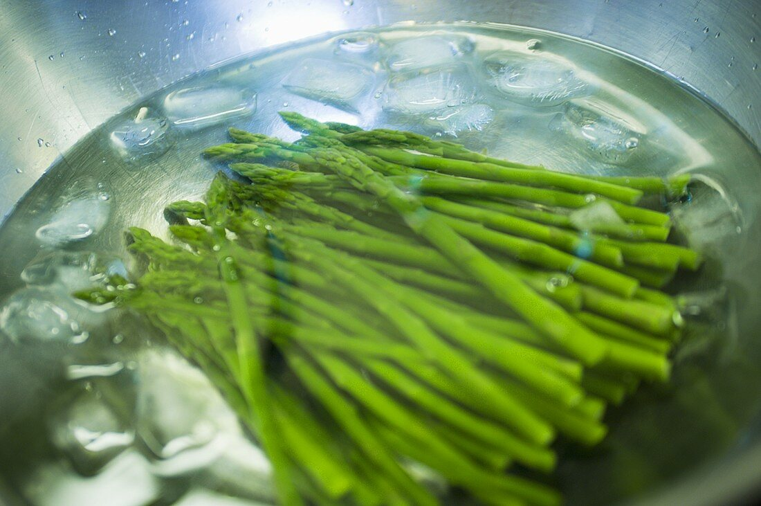 Food Prep; Blanched Asparagus in Ice Bath