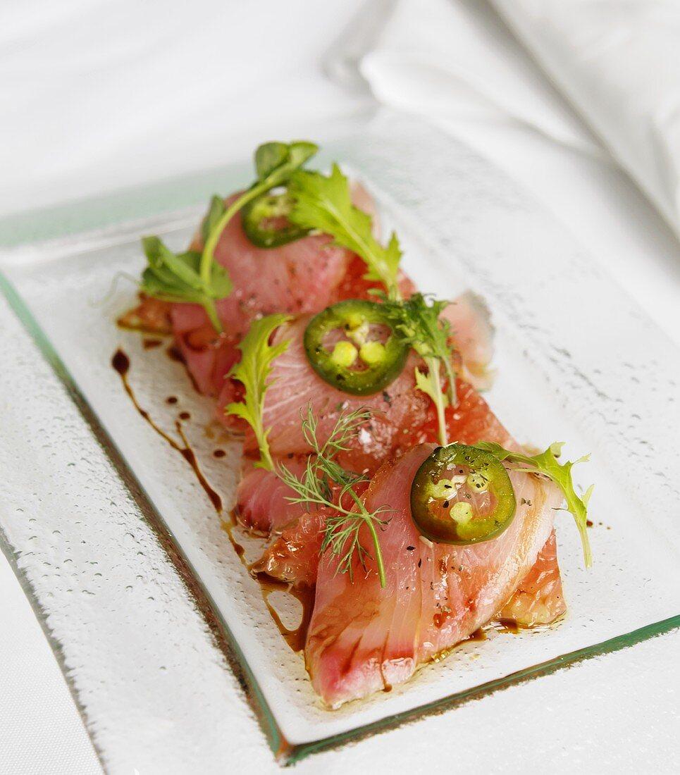 Hamachi Crudo (raw fish fillets with grapefruit and jalapeno, Japan)