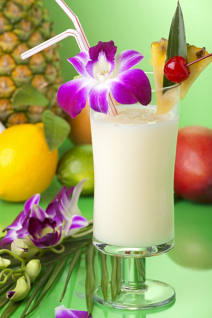 Pina Colada with Orchid Garnish