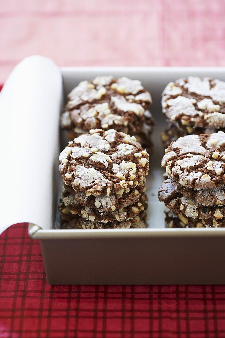 Hazelnut Chewies Stacked in a Tin; Holiday Cookie