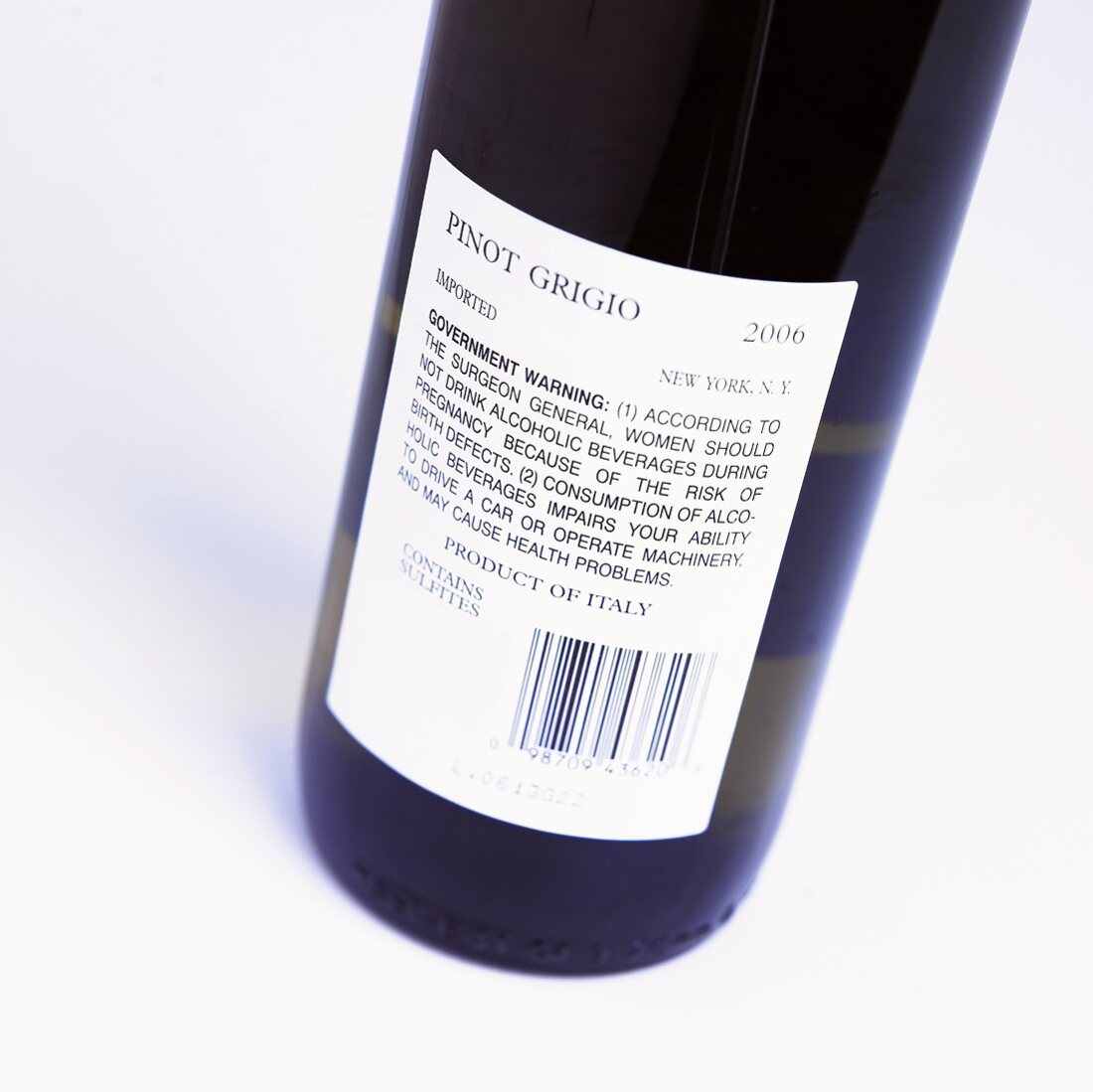 Close Up of Wine Label on Bottle; Pinot Grigio