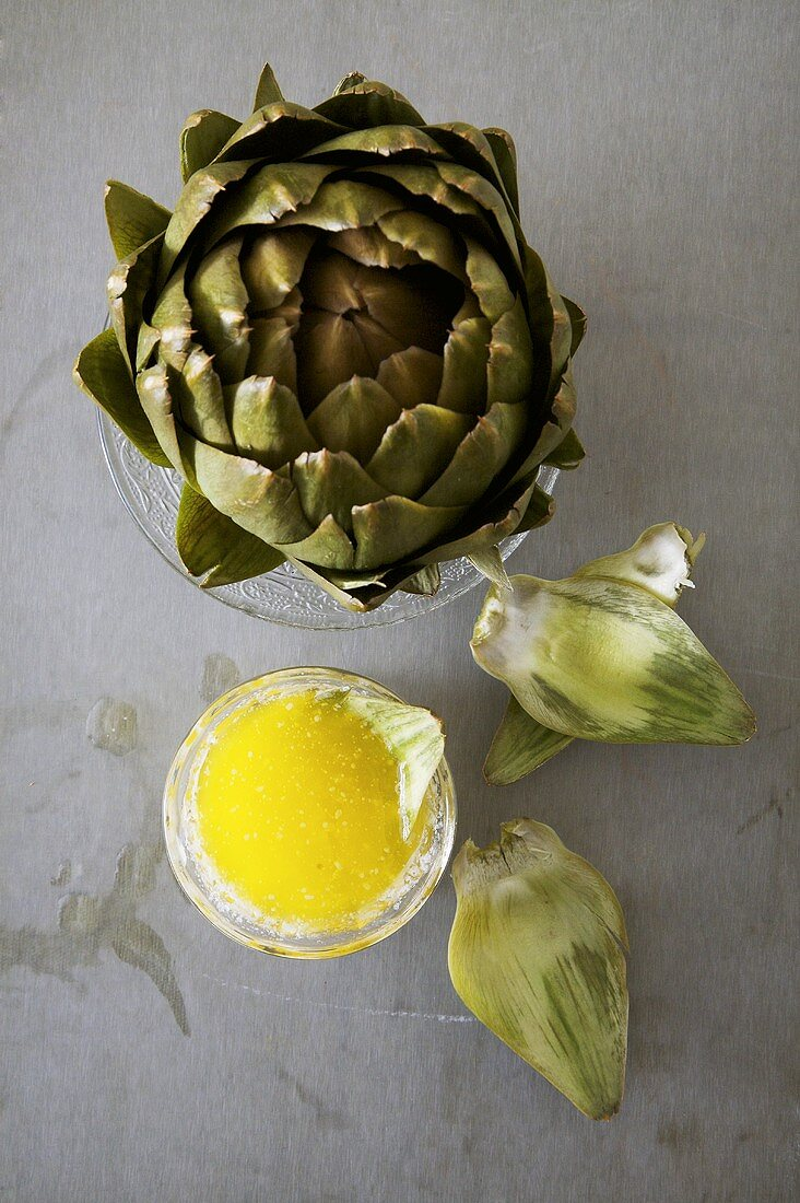 Artichoke with Melted Butter Dip