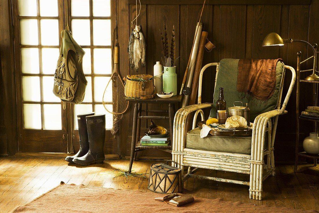Still Life of Fishing Gear in Cabin