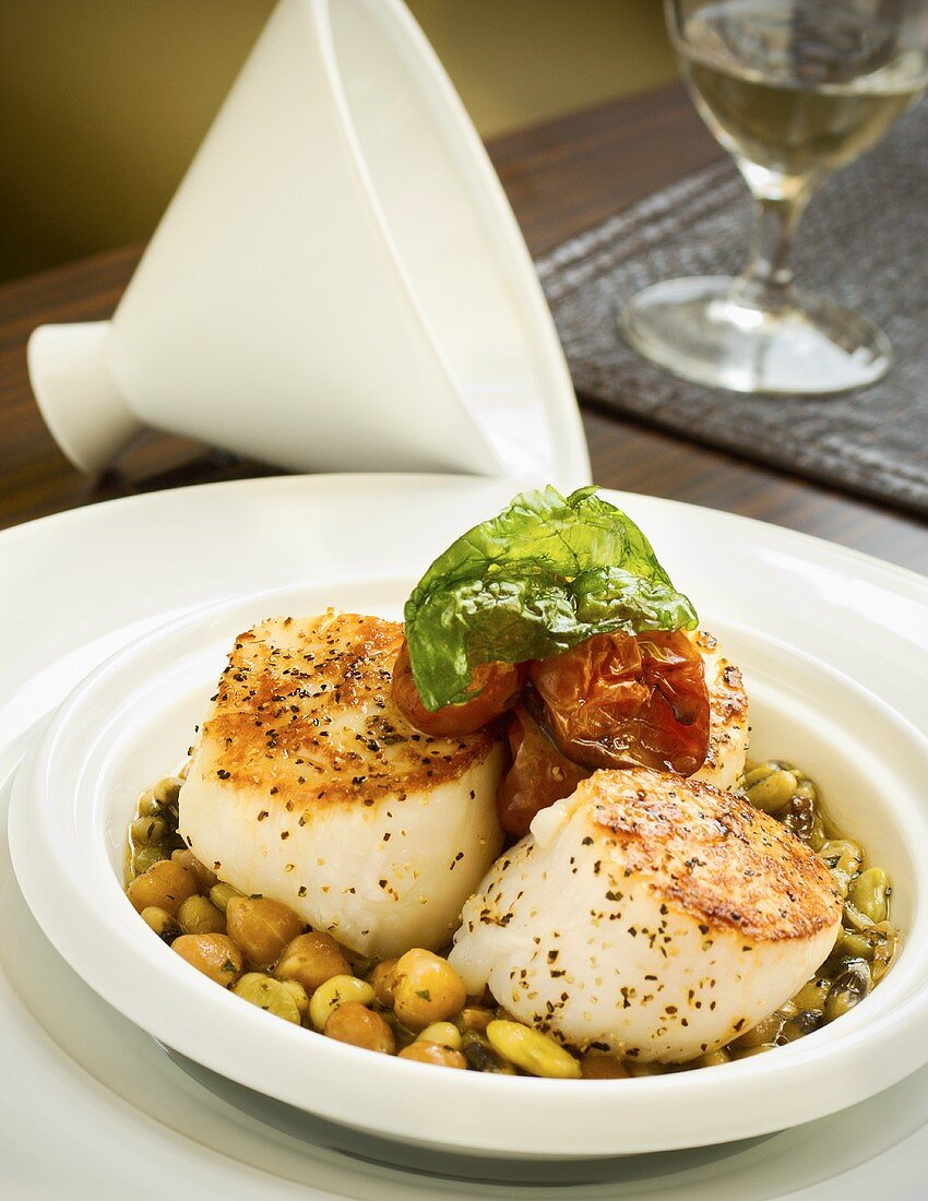 Roasted Moroccan Scallops on Bed of Chickpeas