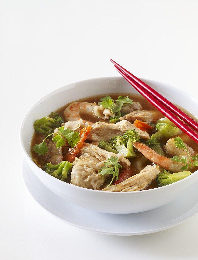Chicken and Shrimp Wonton Soup with Chopsticks