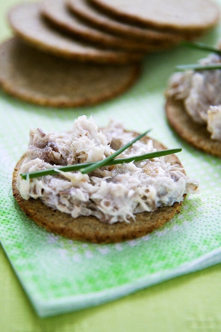 Mackerel Pate on Oat Crackers