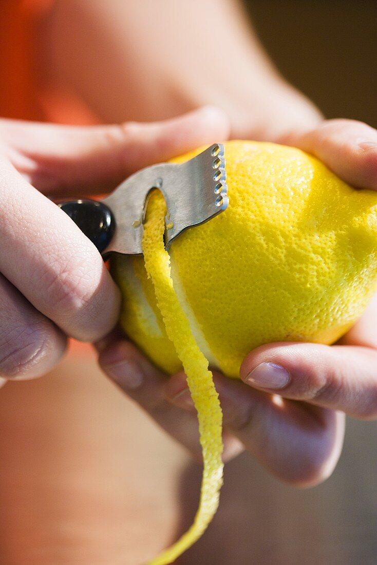 Peeling Lemon for Garnish