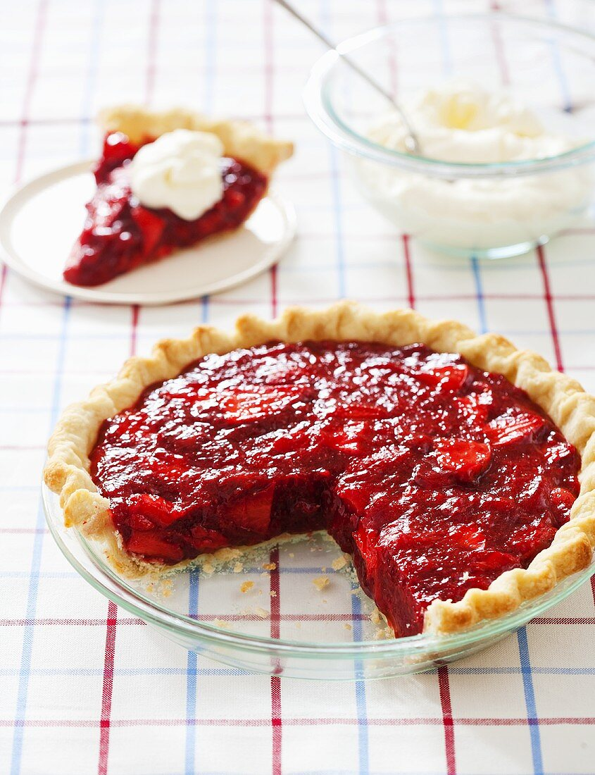 Strawberry Pie in Baking Dish with Slice Removed