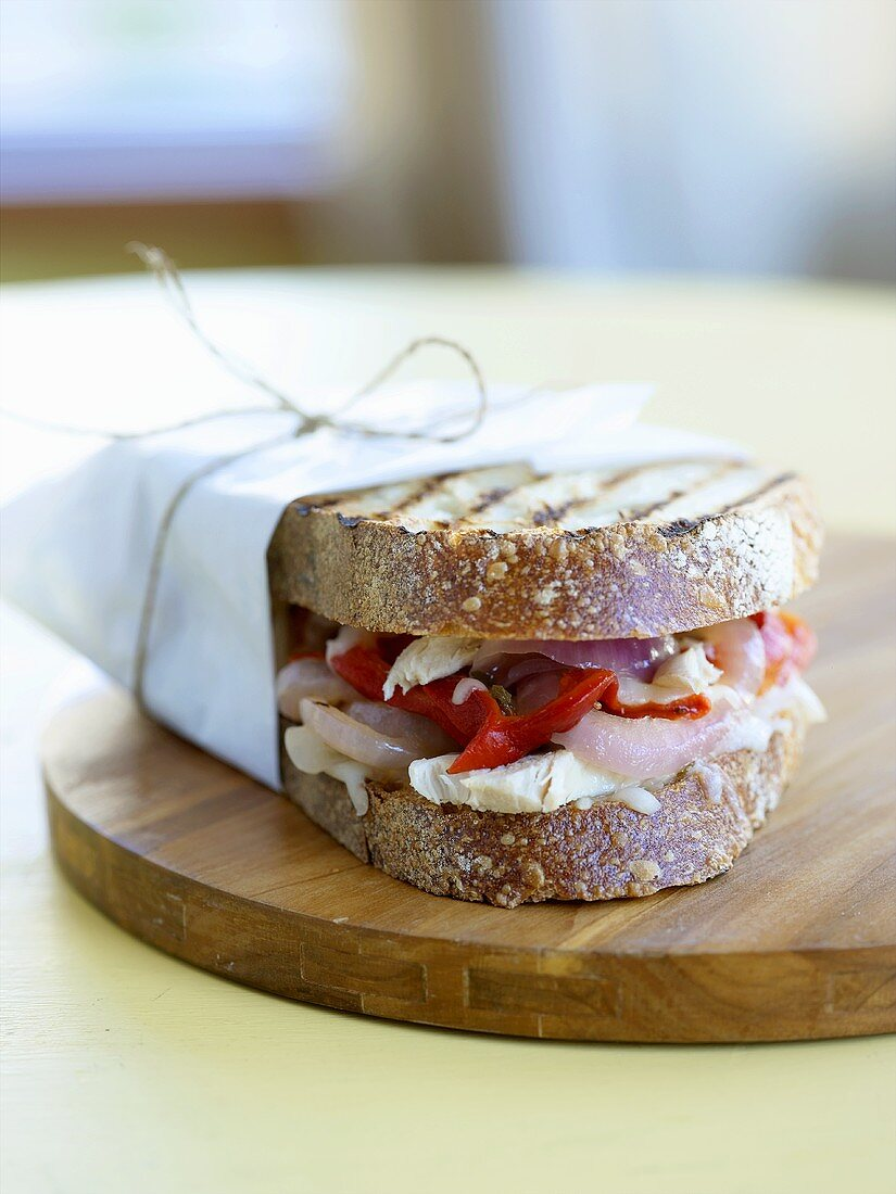 Turkey and Roasted Red Pepper Panini; Wrapped in Parchment