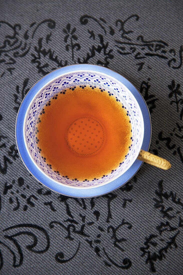 Cup of Tea on Blue Saucer; From Above