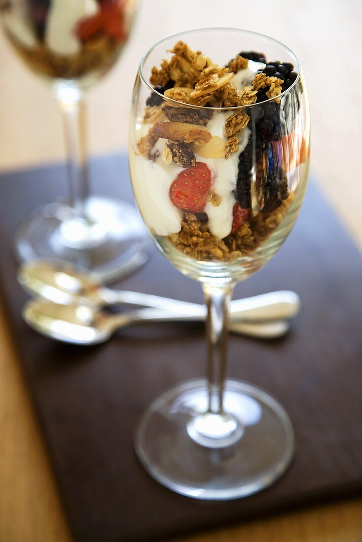 Granola with Fruit and Yogurt in a Wine Glass