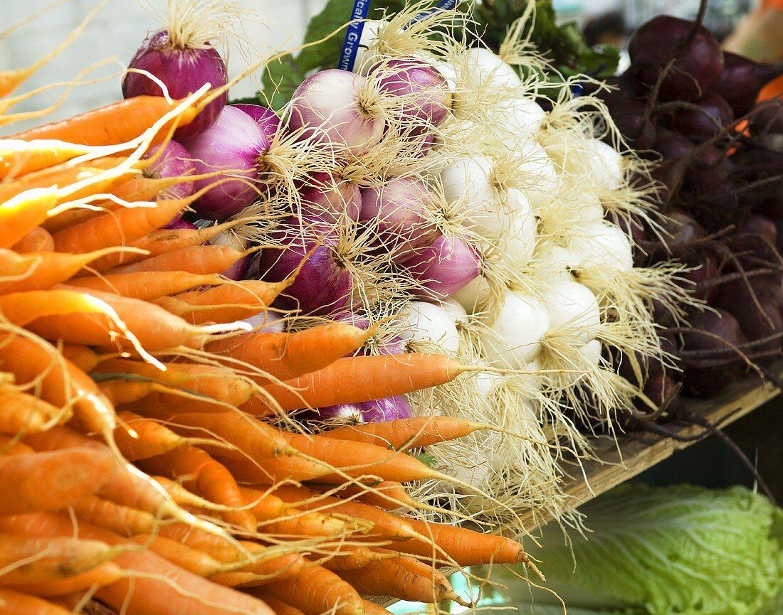 Fresh Vegetables at Farmers Market in Burlington Vermont