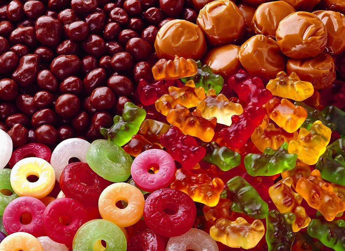 Lifesavers,Gummy Bears,Caramels and Chocolate Peanuts