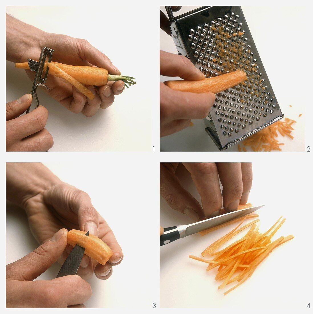 Peeling, grating, turning or chopping carrots