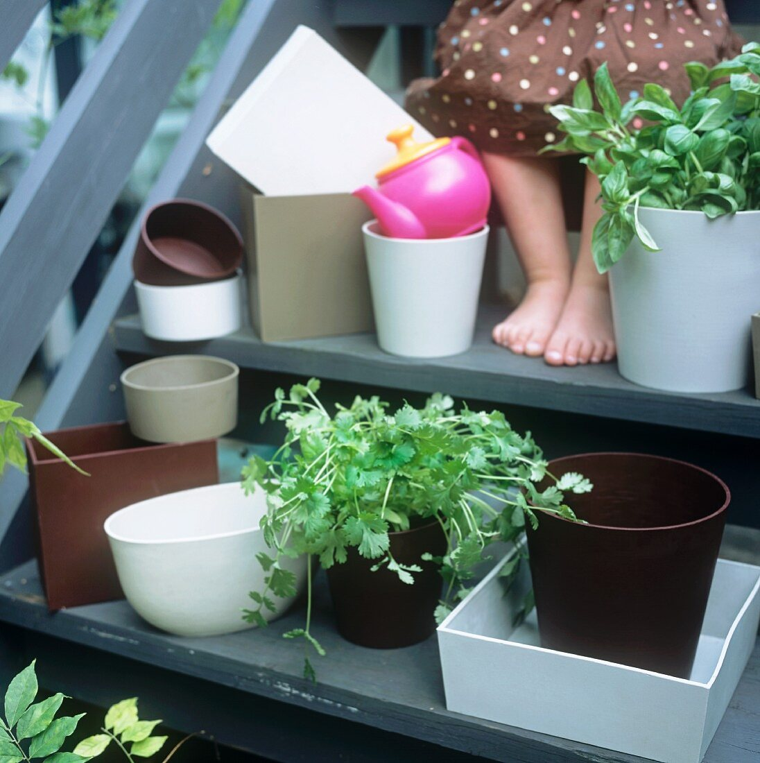 A girl's feet on a flight of stairs surrounded by pots of herbs