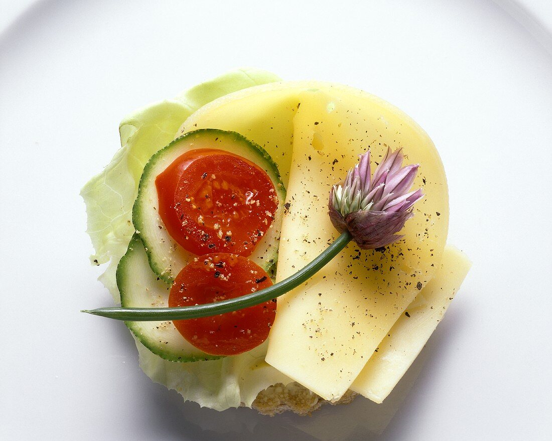 Smorrebrod with Mild Cheese and Lettuce