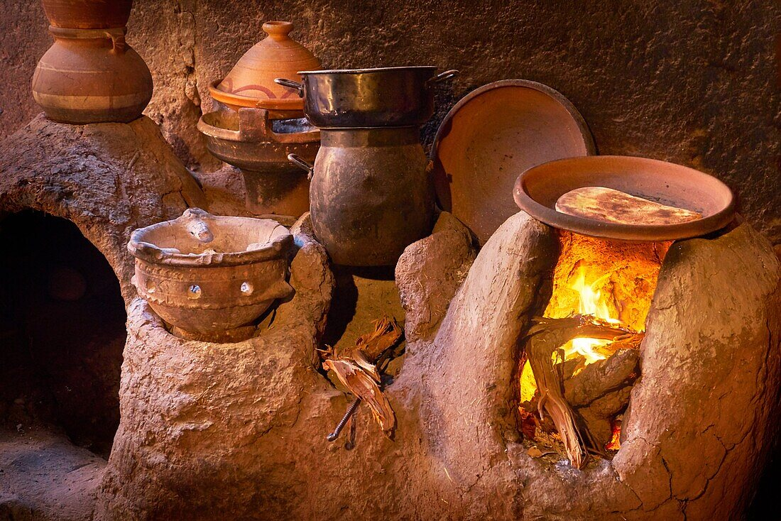 Traditional Berber kitchen. Ourica Valley, Morocco.