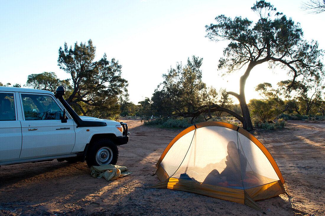 Bush camping at Goog's Lake, Goog's Track, Australia, South Australia
