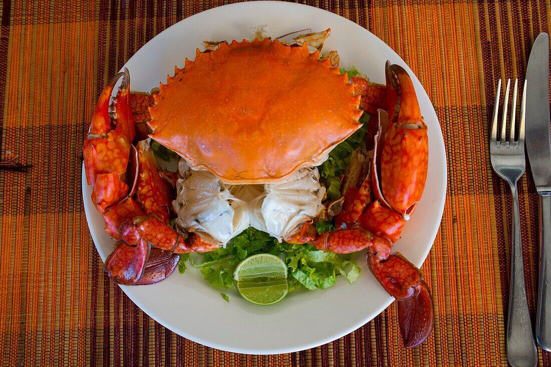 Crab seafood dish at restaurant in Antsiranana (Diego Suarez), Madagascar.
