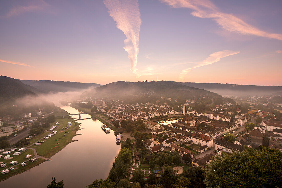 View of the town of Bad Karlshafen and the Weser river at dawn, Bad Karlshafen, Hesse, Germany, Europe