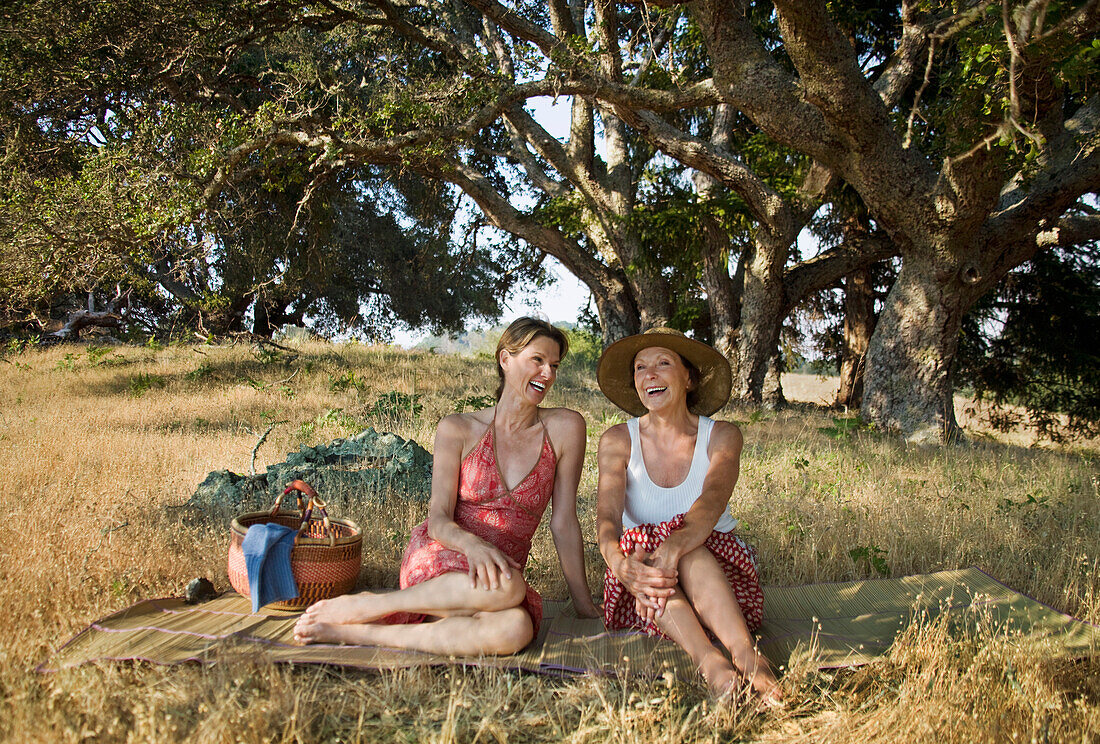 Laughing women relaxing on picnic blanket