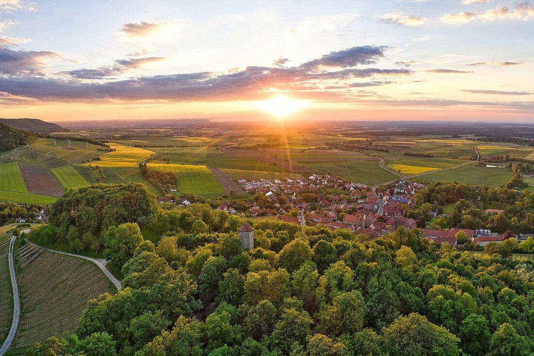 Aerial view of Castell, Kitzingen, Lower Franconia, Franconia, Bavaria, Germany, Europe