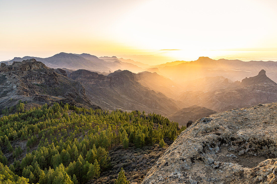 """Sunset over landscape at the """"Roque Nublo"""" monolith in the high mountains of Gran Canaria (1813 m altitude, Spain"""