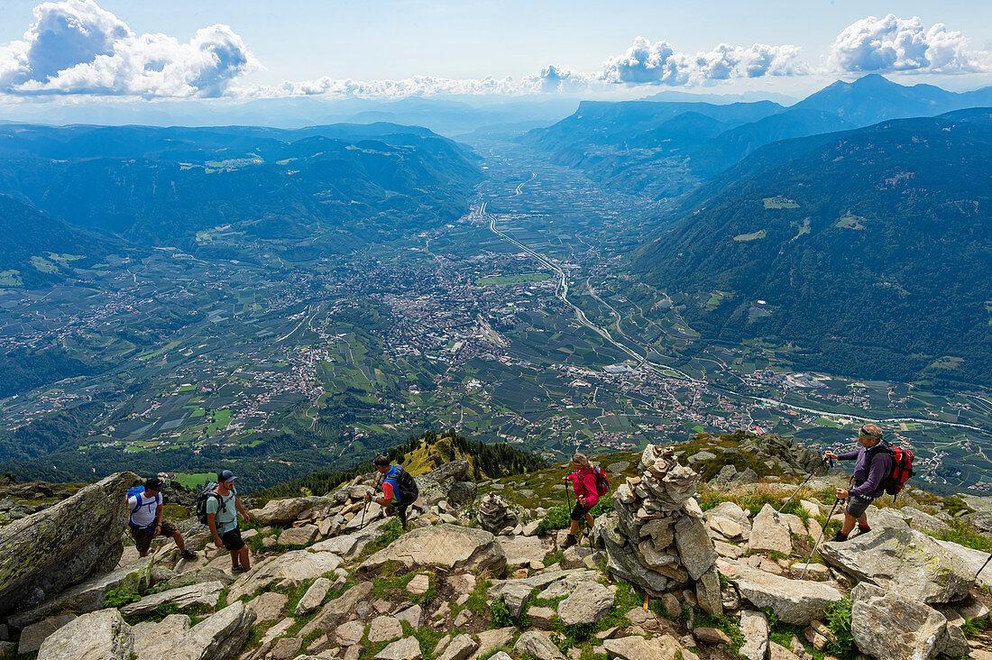Wanderer auf der Mutspitze, der Hausberg von Dorf Tirol mit Blick auf Meran und dem Etschtal in Südtirol, Italien