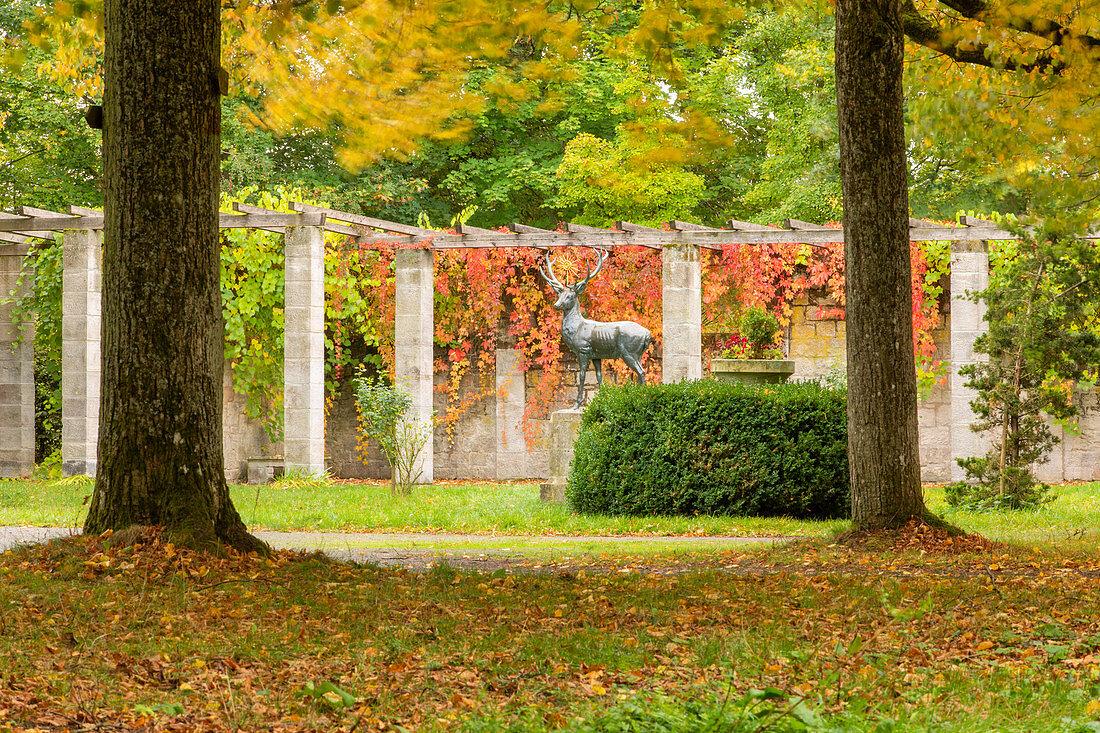 Der Schloßgarten am Schwanberg im herbstlichen Kleid, Rödelsee, Kitzingen, Unterfranken, Franken, Bayern, Deutschland, Europa