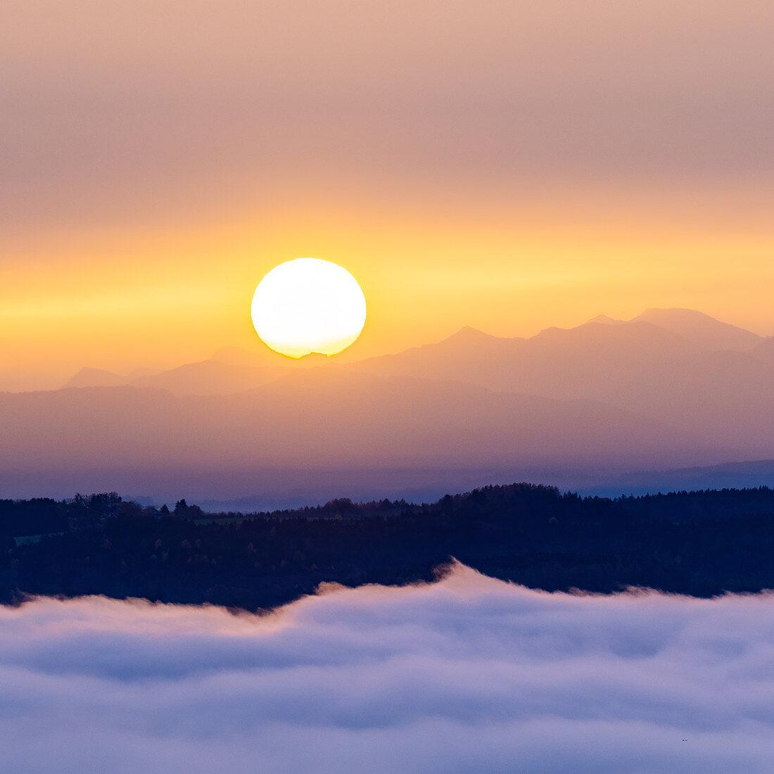 Nebel am Starnberger See, Ilkahöhe, Tutzing, Bayern, Deutschland