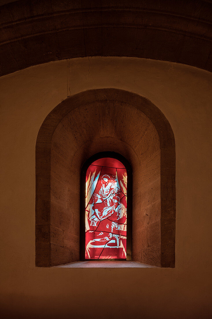 """UNESCO Weltkulturerbe """"Naumburger Dom"""", Glasfenster des Malers Neo Rauch, Naumburg (Saale), Burgenlandkreis, Sachsen-Anhalt, Deutschland"""