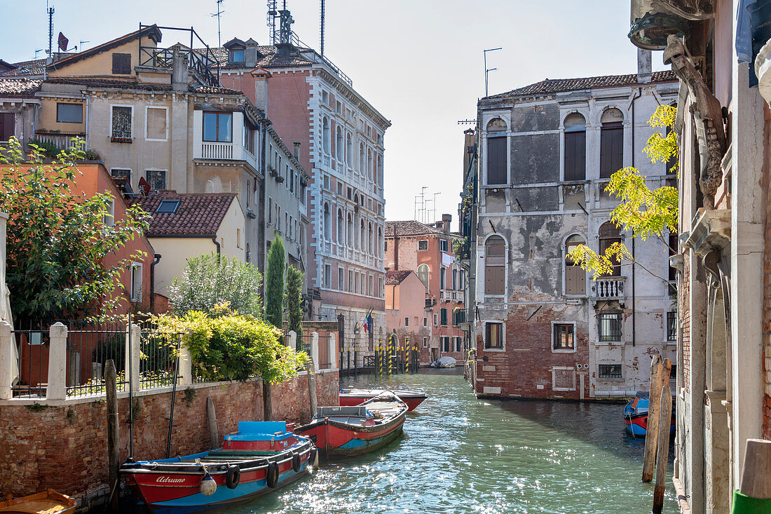 Romantic Venetian canal view with houses in Venice, Veneto, Italy